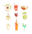 funny cup bottle glass with drinks standing and vector image