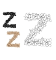 Letter Z decorated by vintage floral elements vector image