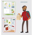Man with hand baggage vector image vector image
