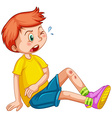 Boy with wounds on his leg vector image