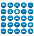 boat icons set blue simple style vector image