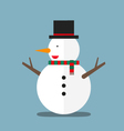 cute big fat snowman wear hat and scarf flat vector image