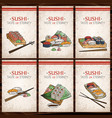 doodle sushi and rolls on wood japanese vector image
