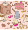 Sweet coffee and candies seamless pattern vector image