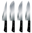 Kitchen knives big size set isolated on white vector image