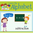 Flashcard letter S is for subtraction vector image