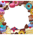 square frame of desserts and pastries round place vector image
