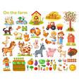 farm set with animals vector image