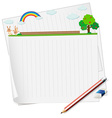 Blank paper and bunny in the field vector image