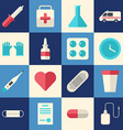 Set of Flat Style Medical Icons Healthcare vector image