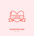 heart with ribbon fall in love flat vector image