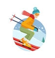 Skier on Slope in Flat Design vector image
