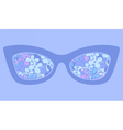Sunglasses with colorful flowers reflection vector image