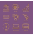mono line icons set of inflatable castles vector image