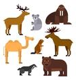 Wild animals flat cartoon isolated icons vector image
