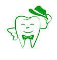 cartoon tooth logo vector image vector image