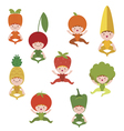 Baby vegetables and fruits collection vector image