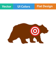 Flat design icon of bear silhouette with target vector image