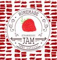 Jam label design template for strawberry dessert vector image