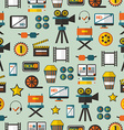 Seamless pattern with cinema equipment vector image