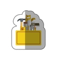 sticker toolkit inside of wooden box shading vector image
