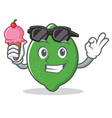 with ice cream lime character cartoon style vector image