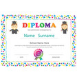 preschool kids diploma certificate elementary vector image