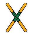 wooden sword bokken icon icon cartoon vector image