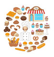 bakery collection doodle style vector image