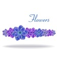blue and purple flowers with leaves vector image vector image