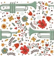 Seamless pattern with saxophone and flowers vector image vector image