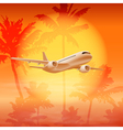 Background with palm trees and airplane in the sky vector image