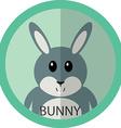 Cute grey bunny cartoon flat icon avatar round vector image