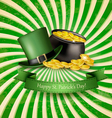 Saint Patricks Day background with a green hat and vector image vector image