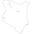 Black White Kenya Outline Map vector image