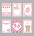collection of cute baby girl card collection of vector image