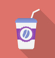 Cup of coffee icon Modern Flat style with a long vector image