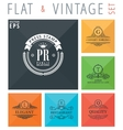flat and vintage elements icons vector image