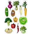 Happy smiling fresh garden vegetables vector image