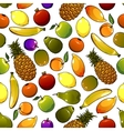 Ripe tropical fruits seamless pattern vector image