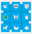 Set of simple animals icons elements pigeon wolf vector image