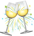 Two wine glasses and firework background vector image