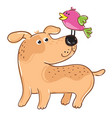dog with bird cartoon character vector image