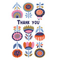 scandinavian flora banner with thanx message vector image