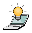 light bulb and laptop icon vector image
