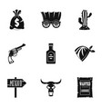 wild west icon set simple style vector image