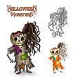 Halloween monsters scary cartoon rotten zombie vector image vector image