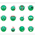 series of green smilies style zombies vector image
