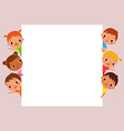 children behind blank sign vector image