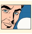 Face beautiful men comic bubble vector image